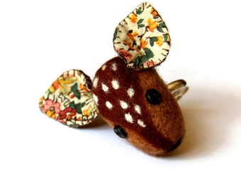 Needle Felted Deer Ring, Woodland Jewellery, Animal Jewellery, Boho Ring, Deer Head, Nature Ring, Nature Inspired, Autumn Jewelry