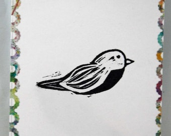 """Un-mounted, hand carved rubber stamp """"Bitty Birdie"""""""