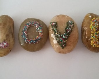 50% SALE - LOVE ornamental pebbles