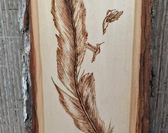 "Feather and Humming Birds plaque - Personalized Pyrography - Wood Burning Art - Natural Bark Border - 11""x6"""