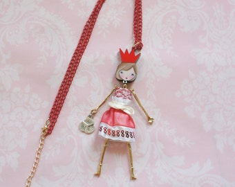 RED FRENCH DOLL pendant, doll necklace with a pink dress, little girl pendant, Girl teen gift, metal necklace, cute, funny jewelry