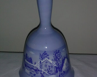 The Farmer's Home Winter Currier IVE'S Blue Decorated Bell*
