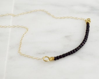 the Olivia necklace in black  |  beaded necklace