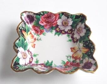 Paragon bowl, Flowered Paragon bowl Paragon, Paragon dish, Square porcelain bowl, Paragon tea bag plate, Paragon bowl