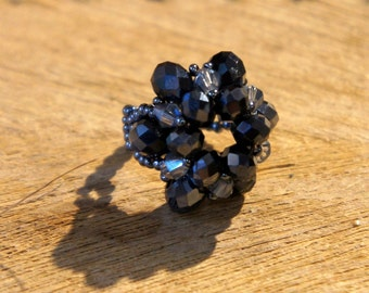 Tohoperlen / Midnight Blue cut glass beads ring