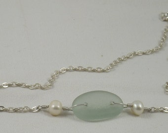 Sea glass, freshwater pearls and sterling silver necklace.