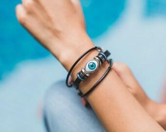 Black Leather Bracelet,Blue Evil Eye Bracelet,Evil Eye Unisex Bracelet, Leather Wrist Band, Boho Bracelet, Ethnic Jewelry, Hand Wrap,  LO30
