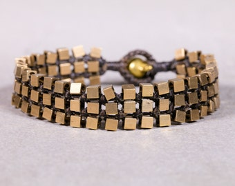 Beaded bracelet- Brown Gold Cube Studs Bracelet - Brass Band Bracelet  B70