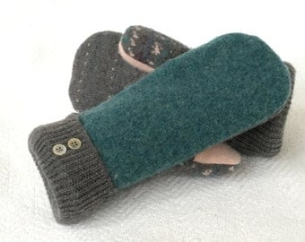 Teal, Gray, Wool Mittens, Felted Wool, Sweater Mittens, Fleece Lined Mittens, Recycled Sweater Mittens, Winter Mittens