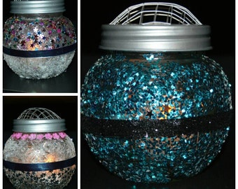 Glass Candle Holder, Decorated with sparkle and glam