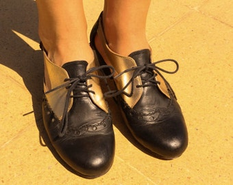 Black & Gold Leather Oxford Style Shoe