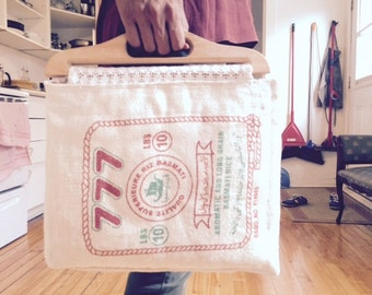 Laptop/hand bag - made from a rice bag