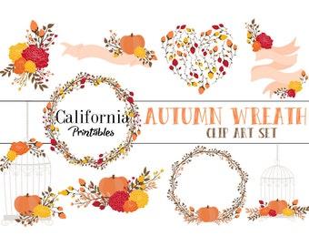 60% OFF SALE!  Autumn Fall Wreaths Clip Art Set - Set of 16 -  Autumn Clip Art - Fall Clip Art -  Instant Download - Scrapbook