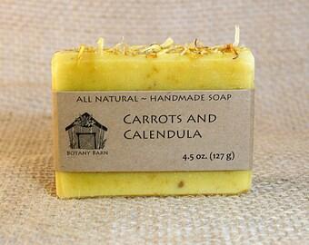 Organic Unscented Soap - Carrots and Calendula, All Natural Soap, Handmade Soap, Cold Process Soap, Vegan Soap