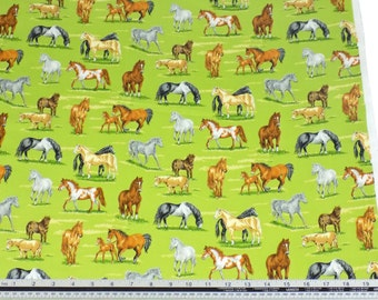 Countryside Horses Grass Green 100% Cotton High Quality Fabric Material *2 Sizes*