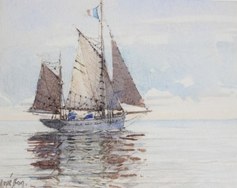 Ketch by small time (watercolor)