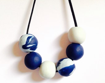 Polymer Clay grey and blue beaded necklace