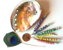 MINI Smudge Kit with Fresh White Sage, Travel Size Smudge Kit, Mini Smudge Sticks with Abalone Shell, Peacock Feather, California White Sage