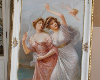 VICTORIAN-STYLE-Oil-Painting-Two-Ladies-Angel-in custom made Baroque style frame -after-Edouard-Bisson