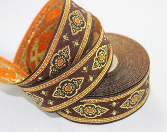 25 mm Orange Renaissance Motive ribbon (0.98 inches) -  european ribbon -  dog colar ribbons - Sewing - Jacquard ribbon - Trim