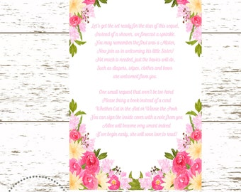 Bring A Book Poem/Baby Shower Poem/Baby Girl Invitation Insert/Baby Sprinkle