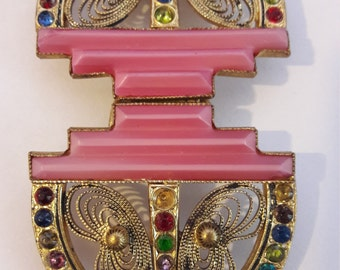 ART DECO rare belt buckle set with glass beads and milk glass middle SALE !