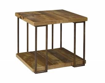 Reclaimed Pine + Steel Side Table