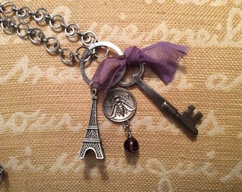 Bohemian Eiffel Tower Mixed Media Necklace