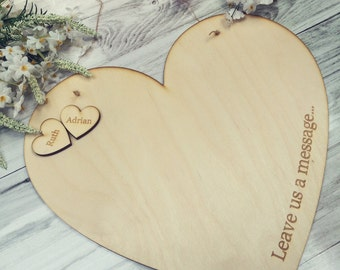 Hanging Heart Wood Wedding/Engagement/Anniversary Guestbook