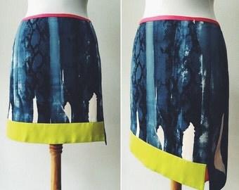 T Tahari skirts / Cotton colorful skirt / asymmetrical skirt /designer vintage skir t/ size S