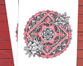 CHINESE MANDALA print. Wall decoration, wall art, illustration, bedroom decor, good luck, gift, present for him or her.