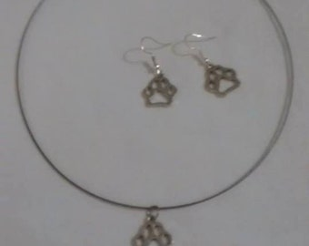 Paw Print Necklace and Earring Set