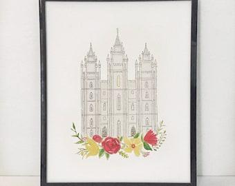 Salt Lake Temple Watercolor Print