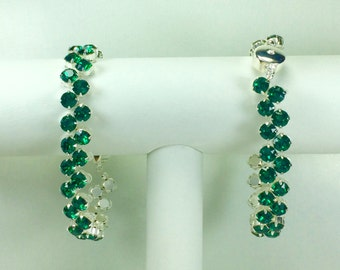 Emerald Redbud Bracelet - Swarovski Crystals, Magnetic Clasp, Silver Plate