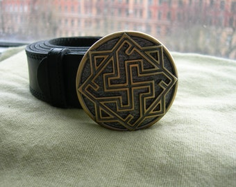Leather belt with Solid Bronze buckle. Valkyrie. Warrior Talisman. Buckle amulet. Pure Leather.