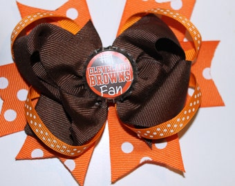 Cleveland Browns fan hair bow