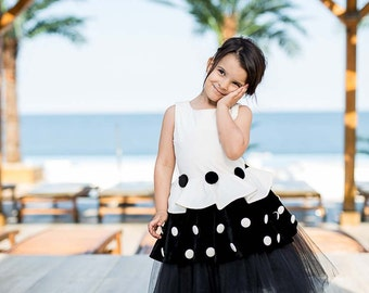 """Dress """"Crystel"""", Elegant and effective dress in classical white and black colors"""