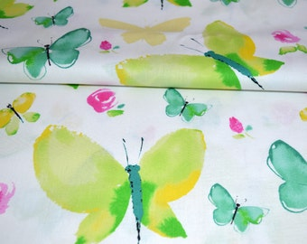 Watercolor Fabric, Colorful Butterflies Fabric, Pink and Green Cotton Fabric, Quilting Fabric, Apparel Fabric