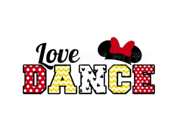 Love Dance Mom Family Matching Mother Daughter Vacation Classic Red Yellow White Bow Minnie Mouse Disney Iron On Decal Vinyl for Shirt  322