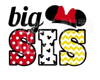 Big Sis / Lil Little Sister Sis Pregnancy Announcement New Baby Surprise Family Minnie Mouse Disney Iron On Decal Vinyl for Shirt 014