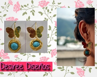 Butterflies and turquoise earrings