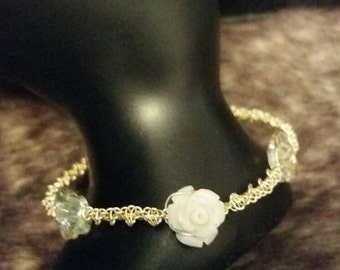 Gold and silver, macrame wired bracelet with rose and butterflies