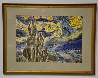 Starry Night Watercolor Painting