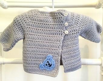 Newborn baby crocheted cardigan