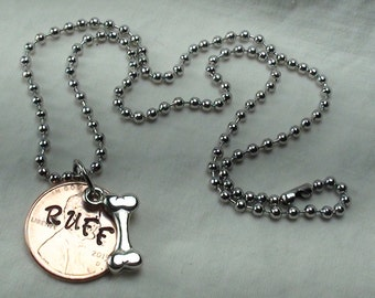 """Lucky Penny Necklace stamped """"RUFF"""" with DOG BONE charm, lucky penny, good luck charm, dogs, necklace, jewelry for dog lovers, unique gifts"""