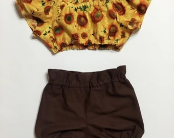 Sunflower crop top and brown bloomers