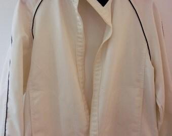 Jantzen Vintage Women's Jacket (Medium, White Denin w Blue Details)