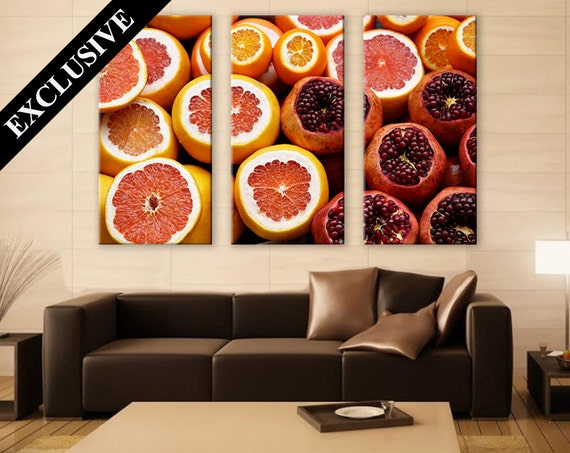 Colorful wall art canvas print 3 panel art kitchen wall art for Colorful kitchen wall art