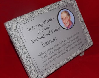 Personalised Grey Granite Memorial Grave Plaque with Colour Photo Marble Effect