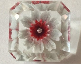 Carved Lucite Red Flower Octagon Shape Vintage Button Old